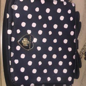 Black and white polka dot Betsey Johnson purse